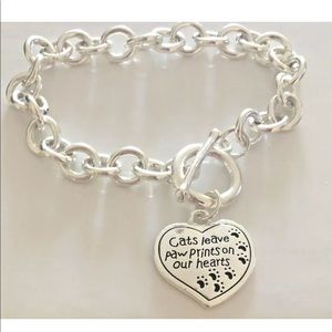 Cats leave Paw Prints on our Hearts Charm Bracelet